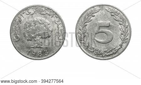 Authentic Tunisian 5 Milliemes Coin Year 1983 Obverse And Reverse Side On White Background,macro Clo