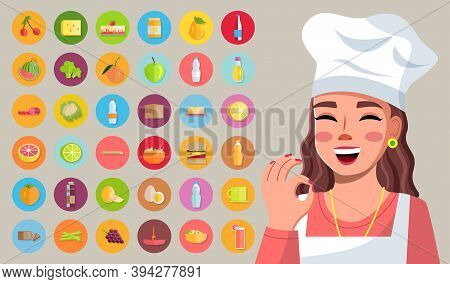Happy Cute Girl In Cook Clothes And Special Cap Makes Ok Gesture With Fingers And Set Of Products Fo