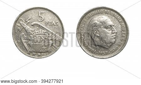 Authentic Spanish 5 Pesetas Coin Year 1957 Obverse And Reverse Side On White Background,macro Close