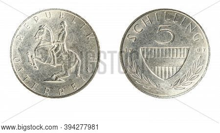 Authentic Austrian 5 Schilling Coin Year 1987 Obverse And Reverse Side On White Background,macro Clo