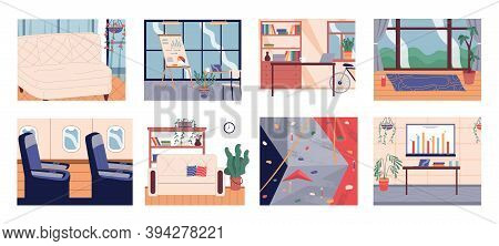 Premises And Rooms Set. Graphic Office, Living Room Interiors With Furniture Sofa, Office Tables, Ch