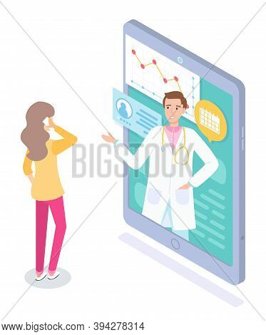 Making An Appointment With A Doctor On Smartphone. Consultation Of Medical Specialist Online. Patien