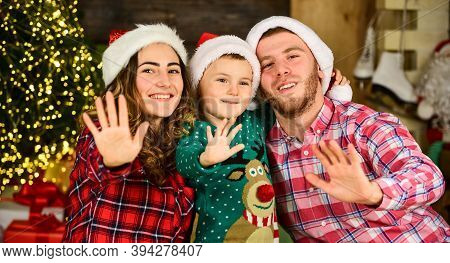 Happy Holidays. Christmas Tradition. Father Mother Cute Son Christmas Tree Background. Idyllic Momen