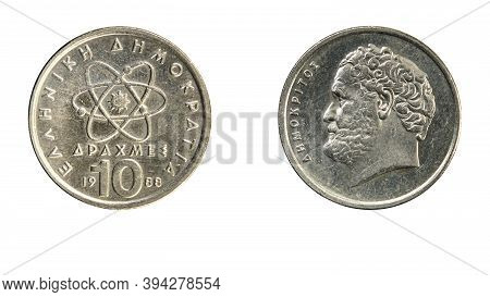 Authentic Greek Coin 10 Drachmai Year 1988 Obverse And Reverse Side On White Background,macro Close