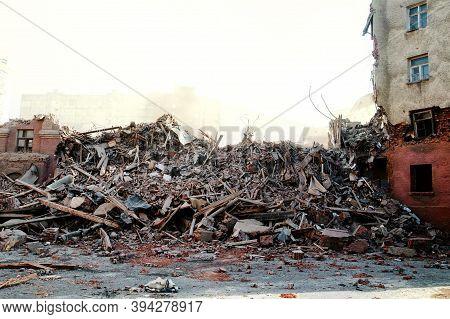 Pile Of Demolition Rubble. Gray Rubble At A Building Site. Demolition Of A House