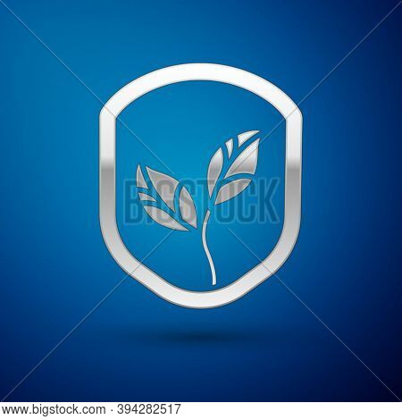 Silver Shield With Leaf Icon Isolated On Blue Background. Eco-friendly Security Shield With Leaf. Ve