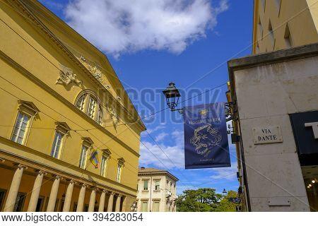 October 2020 Parma, Italy: Royal Theatre. Teatro Reggio On Sunny Day Across Blue Sky, Streetlight, P