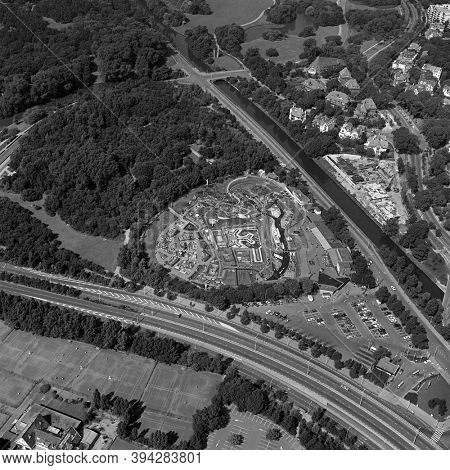 The Hague, Holland, August 29 - 1977: Historical aerial photo  in black and white of Madurodam, a miniature park, tourist attraction in the Scheveningen district of The Hague
