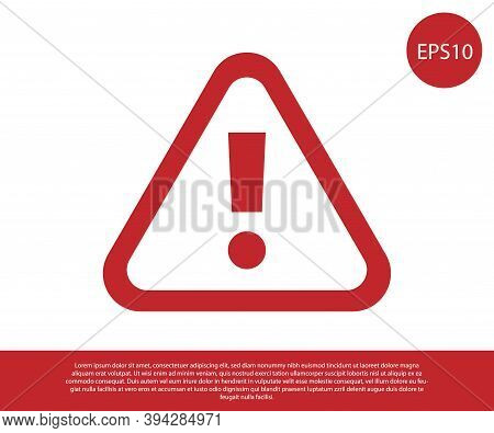 Red Exclamation Mark In Triangle Icon Isolated On White Background. Hazard Warning Sign, Careful, At