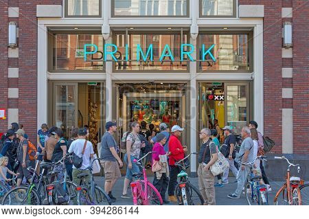 Amsterdam, Netherlands - May 15, 2018: Crowd Of People At Primark Shop In Amsterdam, Holland.