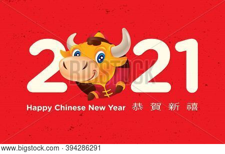 Happy Chinese New Year 2021. Cute Little Cow Heading Out From Big Words 2021. The Year Of The Ox. Tr
