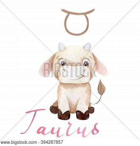 Watercolor Illustration Taurus Bull Symbol Of The Year 2021 Zodiac Funny And Cute Cow New Year Illus