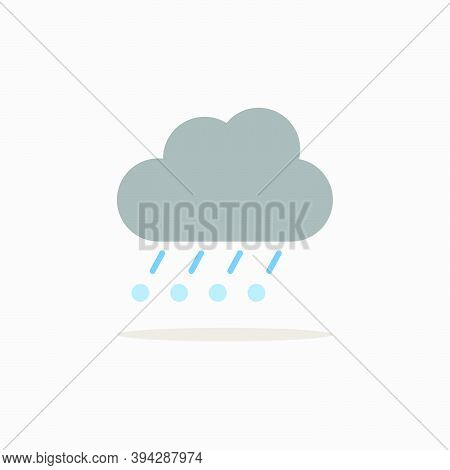 Rain, Hail And Cloud. Color Icon With Shadow. Weather Glyph Vector Illustration