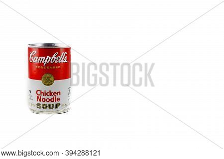 Dunn County, Wi / Usa  -  November 10 / 2020: Can Of Campbell's Chicken Noodle Soup. Isolated On A W