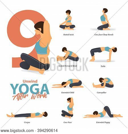 Infographic Of 9 Yoga Poses For After Work Concept In Flat Design. Beauty Woman Is Doing Exercise Fo