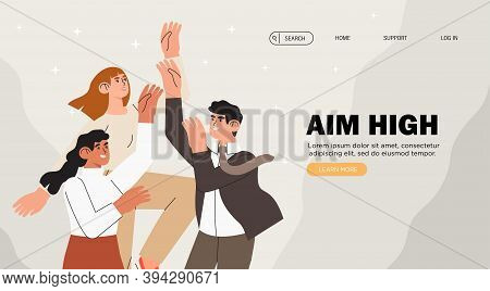 Group Of People Try To Reach Goals And Aim High. Individuals Or Employees Competing For Better Job P