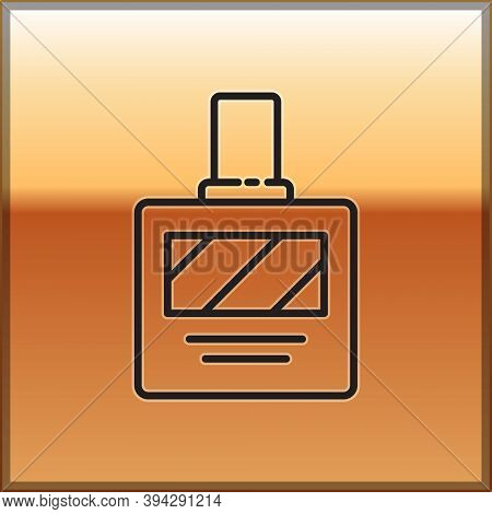 Black Line Aftershave Icon Isolated On Gold Background. Cologne Spray Icon. Male Perfume Bottle. Vec