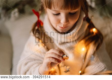 Merry Christmas And Happy Holidays. The Child Eating Gingerbread Cookies. Waiting For Christmas.