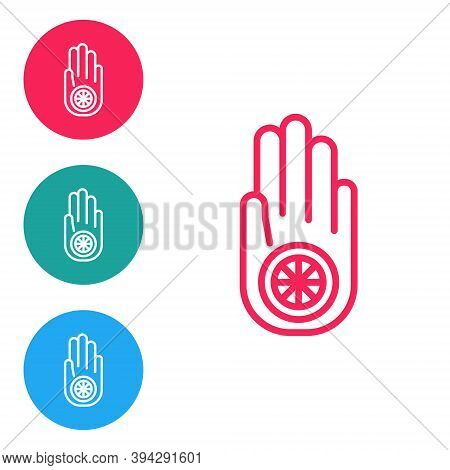 Red Line Symbol Of Jainism Or Jain Dharma Icon Isolated On White Background. Religious Sign. Symbol