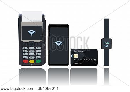 Pos And Nfc Payment Technology Concept. Payment From A Mobile Phone, Card, Watch By Bringing The Dev