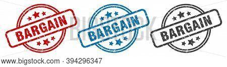 Bargain Stamp. Bargain Round Isolated Sign. Bargain Label Set