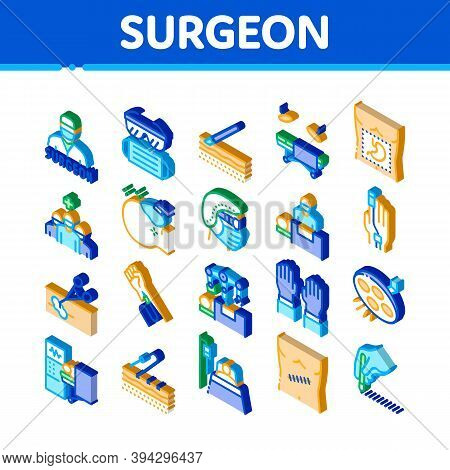 Surgeon Medical Doctor Icons Set Vector. Isometric Surgeon Facial Mask And Glasses, Scalpel And Forc
