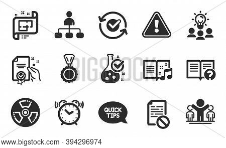 Wrong File, Management And Architectural Plan Icons Simple Set. Quickstart Guide, Alarm Clock And Mu