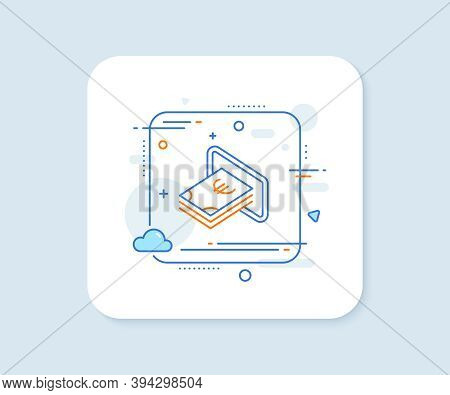 Cash Money Line Icon. Abstract Square Vector Button. Banking Currency Sign. Euro Or Eur Symbol. Cash