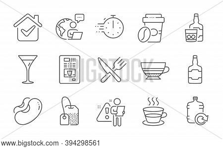 Whiskey Bottle, Refill Water And Tea Bag Line Icons Set. Mocha, Food And Martini Glass Signs. Whiske