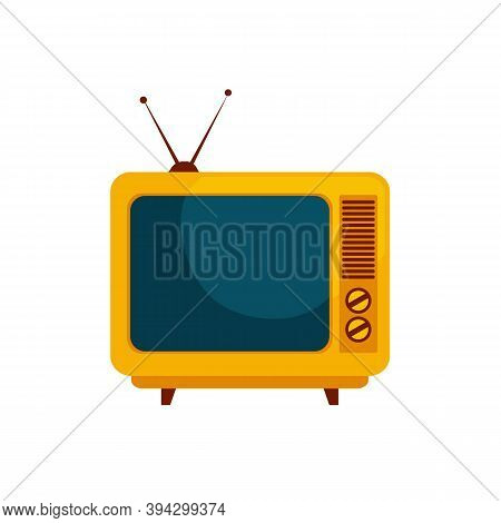 Retro Tv Isolated On White Background. Old Tv In Flat Style With Antenna. Vector Stock