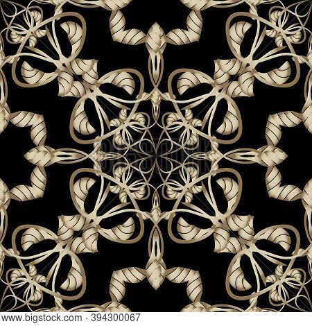 Abstract Gold Arabesque Paisley Vector Seamless Pattern. Floral Ornamental Vintage Background. Ethni