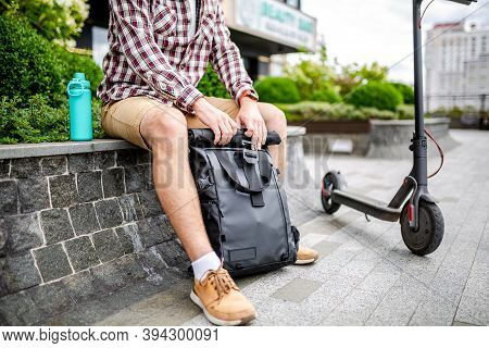 Black Stylish Retro Vintage Backpack. Bag With Leather Trim, Roll-top Clasp. Urban Rucksack. Travel