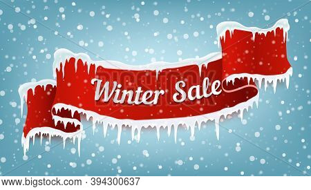 Winter Sale Banner With Red Realistic Ribbon, Icicles And Falling Snow. Vector Illustration