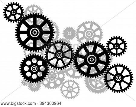Cogwheel Gear Mechanism. Black Silhouette Gears On A White Background. Vector Illustration.