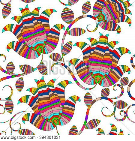 Colorful Striped Ornamental Paisley Seamless Pattern. Ethnic Style Elegance Floral White Background.