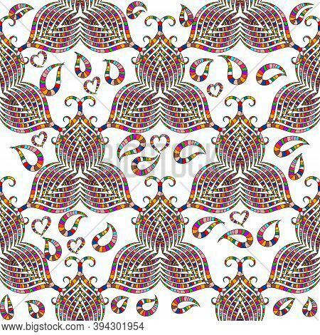 Ornamental Colorful Paisley Vector Seamless Pattern. White Isolated Background. Floral Vintage Hand