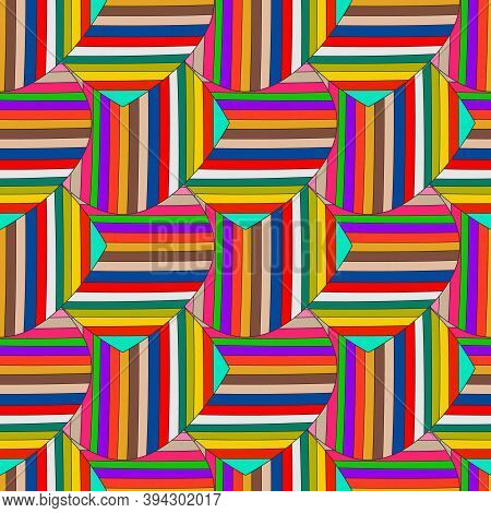 Abstract Colorful Striped Vector Seamless Pattern. Ornamental Multicolor Geometric Background. Multi