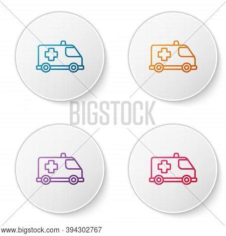 Color Line Ambulance And Emergency Car Icon Isolated On White Background. Ambulance Vehicle Medical