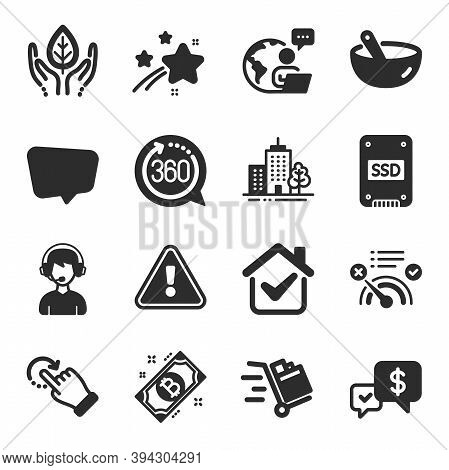 Set Of Business Icons, Such As Skyscraper Buildings, Push Cart, Chat Message Symbols. Bitcoin, Payme