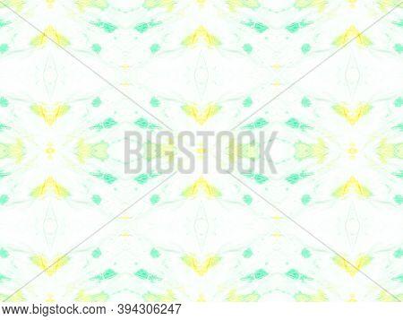 Seamless Aquarelle Pattern. Handmade Artistic Tile Design. Yellow, Green And White. Tie-dye Boho Abs
