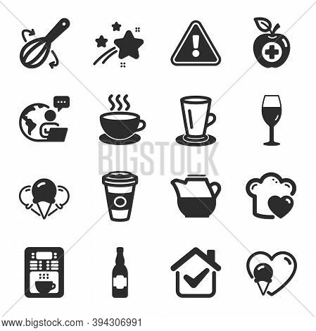 Set Of Food And Drink Icons, Such As Love Cooking, Beer Bottle, Takeaway Coffee Symbols. Teacup, Coo