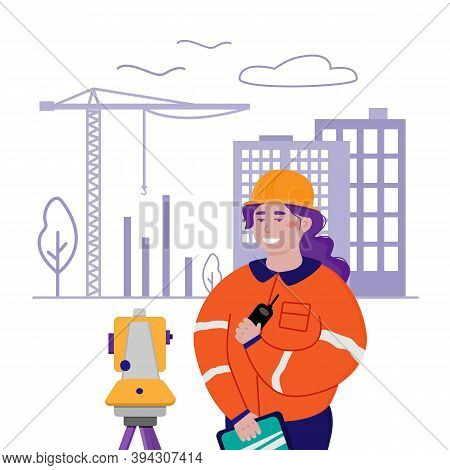 Surveyor Woman Working With Theodolite Outdoor On The Background Of Building Construction. Engineer