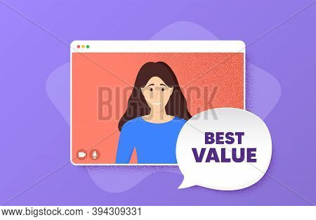 Best Value. Video Conference Online Call. Special Offer Sale Sign. Advertising Discounts Symbol. Wom