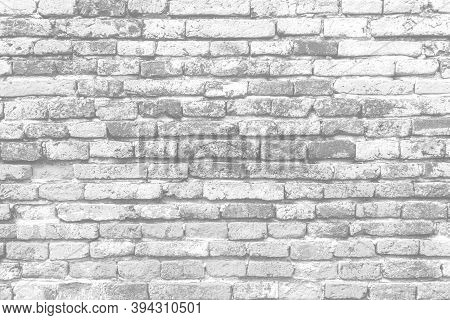 Modern White Vintage Brick Wall Texture For Background Retro White Washed. Old Brick Wall Surface Gr