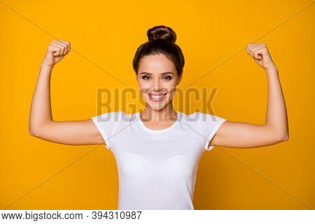 Portrait Of Cheerful Strong Super Woman Show Her Muscles She Training Sportive Finess Workout Wear G