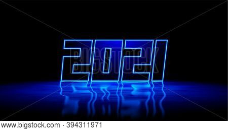 2021 New Year Blue Neon Sign With Shiny 3d Digits And Realistic Reflection On Wet Floor. 2021 New Ye