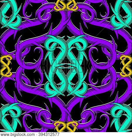 Celtic Intricate Vector Seamless Pattern. Colorful Ornamental Intricacy Background. Branches With Th