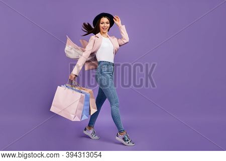 Full Length Photo Positive Girl Shopping Center Client Hold Many Bags Her Hair Fly Air Wind She Touc