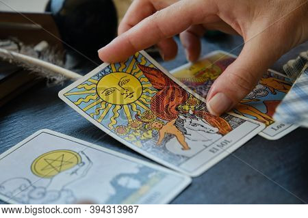 The Looking At Of Tarot Cards On The Table