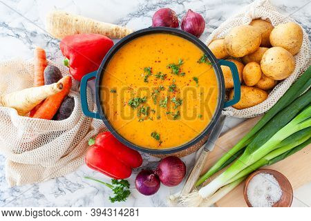 Pot Of Hearty Potato Soup With Fresh Vegetables